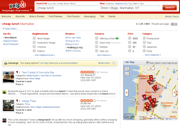 Yelp showing cheap lunch in West Village